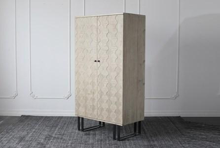 Weathered Pine + Black Bar Cabinet - Main