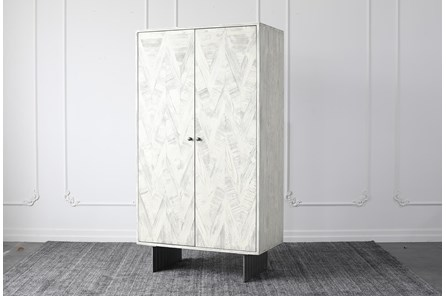 Antique White Bar Cabinet - Main