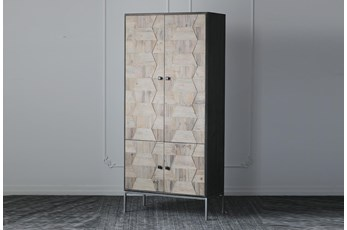 Weathered Pine + Black 4 Door Tall Cabinet