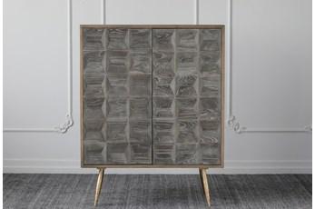 Dark Elm + Natural Pine + Gold 2 Door Cabinet