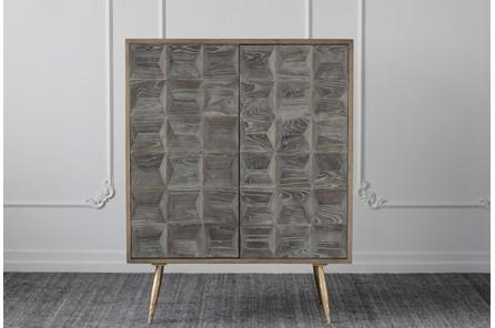 Dark Elm + Natural Pine + Gold 2 Door Cabinet - Main