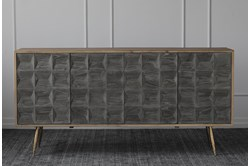 "Dark Elm + Natural Pine + Gold 4 Door 71"" Sideboard"