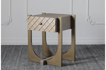 Weathered + Gold 1 Drawer Accent Table