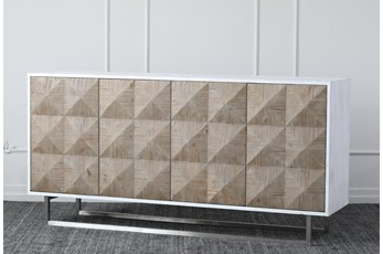 "Natural Reclaimed Pine + White 4 Door 71"" Sideboard"