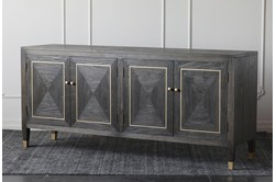 "Dark Elm + Gold 4 Door 79"" Sideboard"