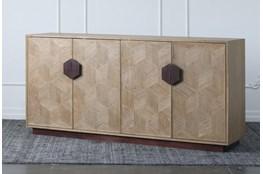 """Natural Elm + Bronze 4 Door 71"""" Sideboard"""