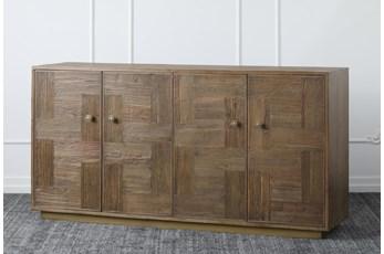 """Reclaimed Pine + Elm 4 Door 71"""" Sideboard"""