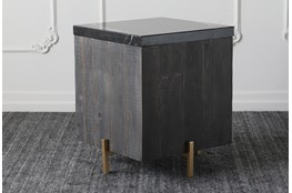 Baked Black + Black Marble Accent Table