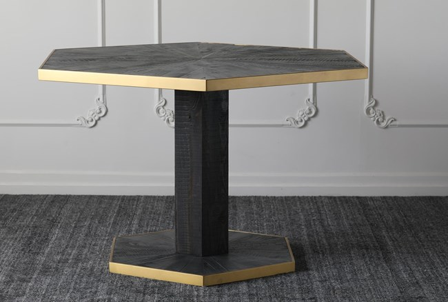 Baked Black + Gold Hex Dining Table - 360