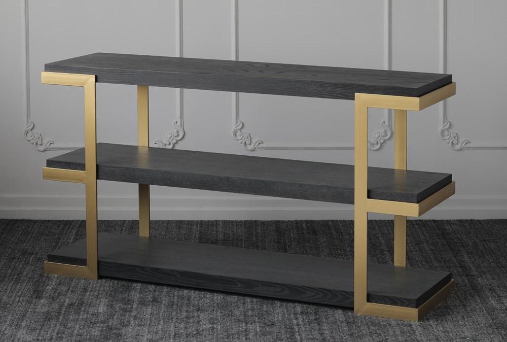 "Black Oak + Gold 71"" Sofa Table"