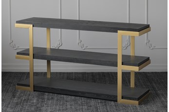 "Black Oak + Gold 71"" Sofa Table"