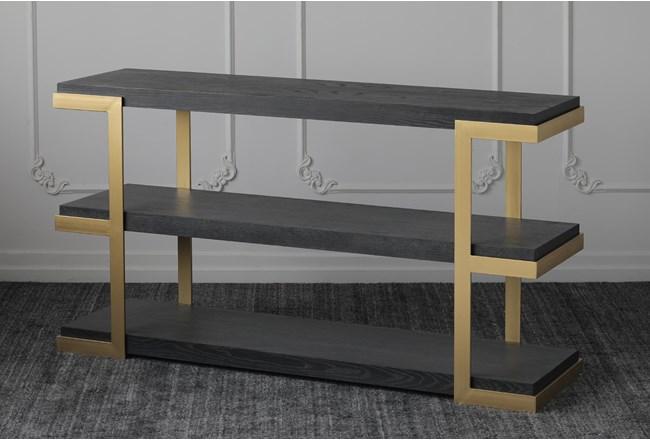 "Black Oak + Gold 71"" Sofa Table - 360"