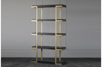 "Black Oak + Gold 83"" Bookcase"