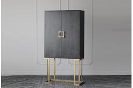 Black Oak + Gold Bar Cabinet