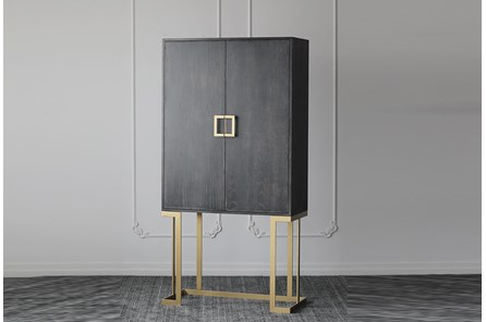 Black Oak + Gold Bar Cabinet - Main