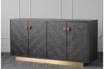 """Black + Gold 4 Door 68"""" Sideboard"""