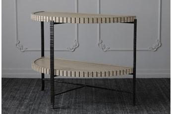 "Antique White Half Round 46"" Sofa Table"
