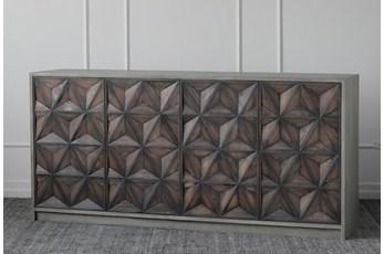"""Antique Black + Grey 4 Door 72"""" Sideboard"""
