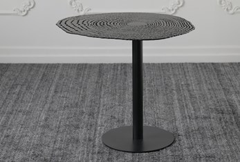 Black Perforated Top Accent Table