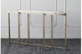 """Grey + Gold Oval 61"""" Sofa Table"""