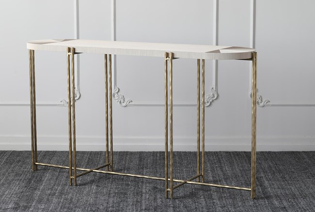 """Grey + Gold Oval 61"""" Sofa Table - 360"""