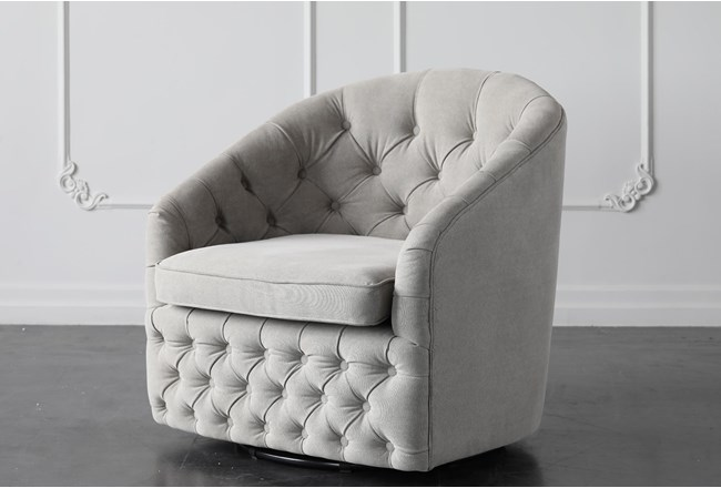Ivory Tufted Accent Chair - 360