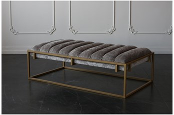 Grey + Dark Gold Rectangle Ottoman