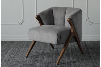 Grey + Natural Oak Accent Chair