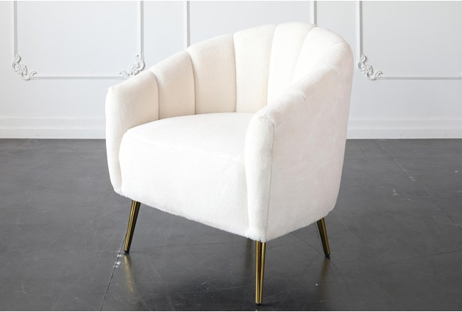 White Accent Chair With Gold Legs - 360