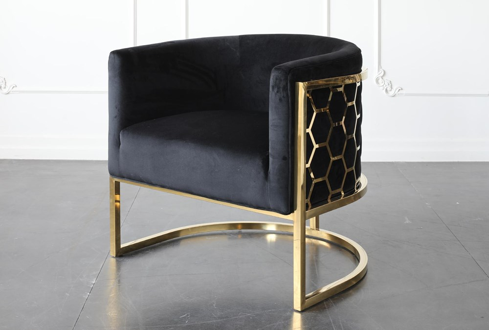 Black + Shiny Gold Chair