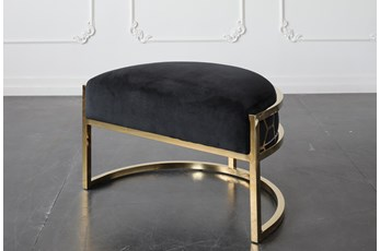 Black + Shiny Gold Ottoman