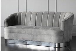 "Grey Velvet 76"" Sofa With Silver Base"