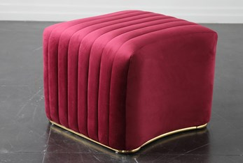 Red + Shiny Gold Ottoman