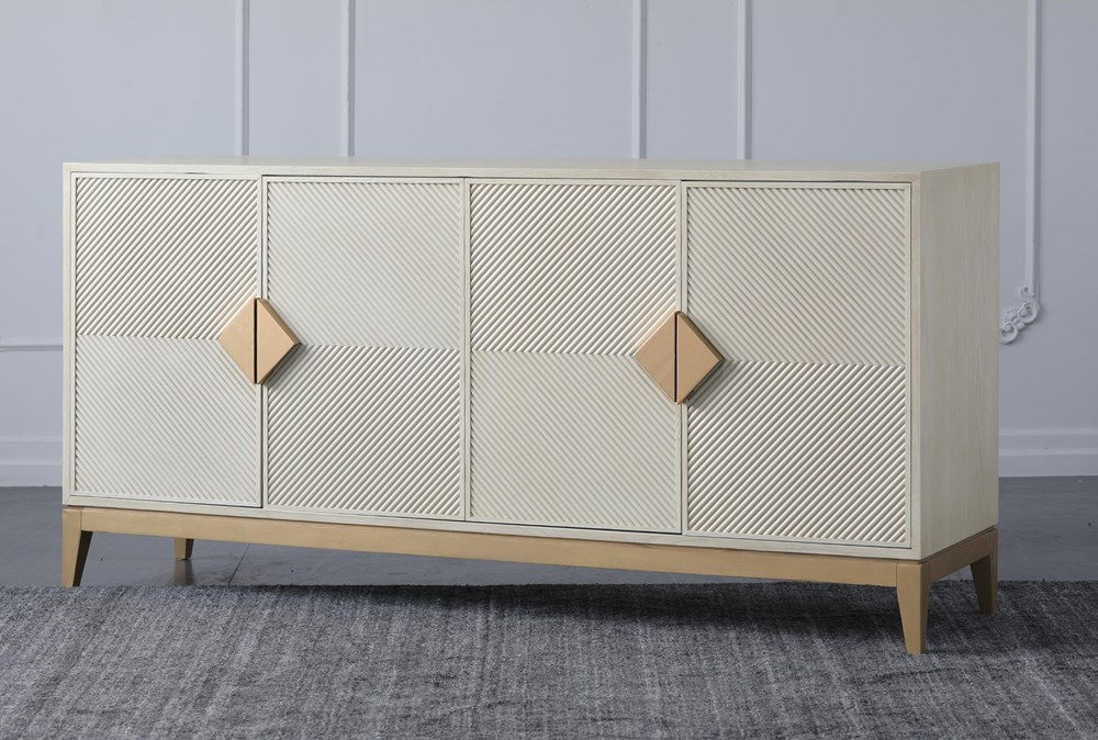 """Cream + Gold 4 Door 71"""" Sideboard"""