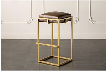 "Brown + Gold 30"" Bar Stool"