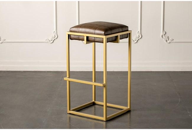 """Brown + Gold 30"""" Bar Stool - 360"""