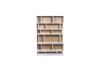 "Oak + White High Gloss 71"" Bookcase"
