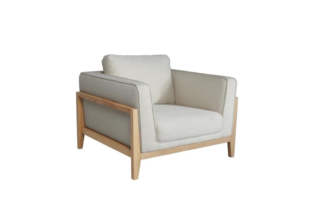 """Cream + Natural Wood Frame 40"""" Chair"""