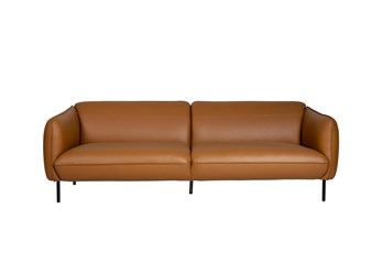 "Camel Color Leather 3 Seater 92"" Sofa"
