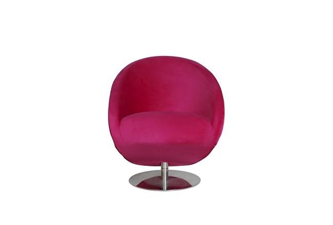 Red Velvet Accent Chair - 360