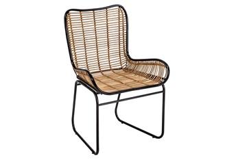 Natural Wicker + Black Arm Chair