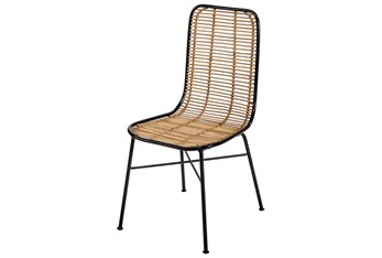 Natural Wicker + Black Dining Side Chair