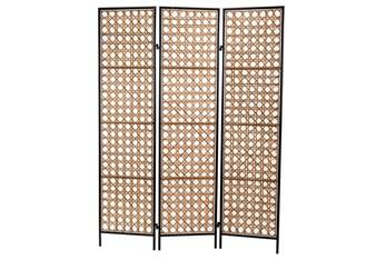 Natural Rattan Skin + Black 3 Panel Screens