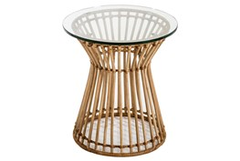 Rattan + Glass Accent Table