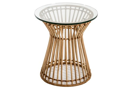 Rattan + Glass Accent Table - Main