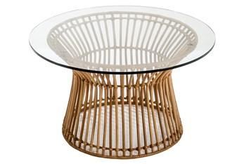 Rattan + Glass Coffee Table