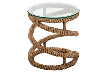Manila Rope Glass Accent Table