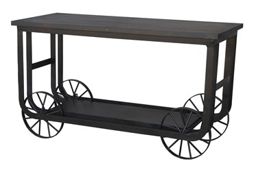 Black Wheel Console Table