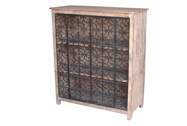 Light Brown Cabinet With Black Iron Doors