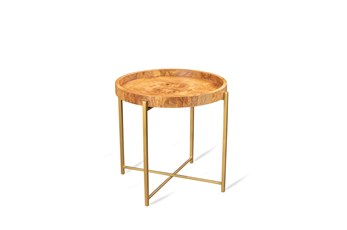 Olive Ash Burl + Gold Accent Table